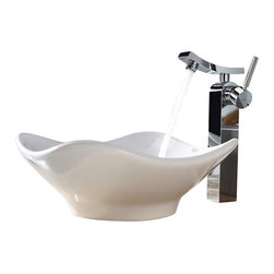 Kraus - Kraus C-KCV-135-14300CH White Tulip Ceramic Sink and Unicus Faucet - Add a touch of elegance to your bathroom with a ceramic sink combo from Kraus