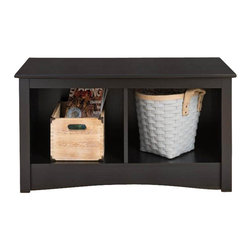 Prepac - Prepac Sonoma Black Twin Cubby Bench - Prepac - Bedroom Benches - BSC3620 - This practical storage bench for the foot of the bed is the perfect companion to the Sonoma Twin Headboard (sold separately). Contemporary in design it would also be a great addition to a front hallway or mudroom.
