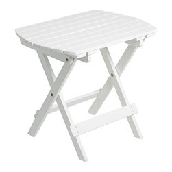 """Lamps Plus - Coastal Monterey White Outdoor Wood Side Table - This handsome and functional outdoor acacia wood side table is made from slats in a white finish. Table folds up for easy storage when not in use. A great accessory for your outdoor porch or patio. White acacia wood side table. Wood slat design. 14"""" deep. 20"""" wide. 18"""" high.  White acacia wood side table.   Wood slat design.   Some assembly required.  14"""" deep.   20"""" wide.   18"""" high."""
