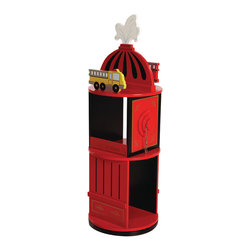"""Levels of Discovery - Firefighter Revolving Bookcase - Fire engine red with black and gold accents Fire hydrant with real chains on hose connections Revolves for easy access Special Message: Hot to Read Fire truck bookends 10"""" and 12"""" shelves hold the firefighter's favorite booksRevolves for easy access. Special message. Two shelves. Fire truck book ends. All products have instructions included for assembly"""