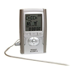 Maverick - Roast Alert Oven Thermometer - Maverick Roast Alert Oven Roasting Thermometer allows you to never over or undercook dinner again with this sensitive oven thermometer. It comes with presets for all types of meat 20-hour count down/up timer 100cm heat resistant wire probe Pre-done alarm setting Overcooked alarm setting Updates instant readings every 5 seconds Slim line case with modern design Wall mount or stand 1 AAA battery included.