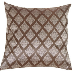 Pillow Decor - Pillow Decor - Diamond Square in Silver Blue Silk Accent Pillow - The Louis diamond pattern on this stunning accent pillow combines a contemporary geometric look from a distance with close-up detail and elegance.