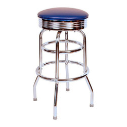 "Richardson Seating - Richardson Seating Retro 1950s 30"" Chrome Swivel Bar Stool with Blue Seat - Richardson Seating - Bar Stools - 1971BLU"