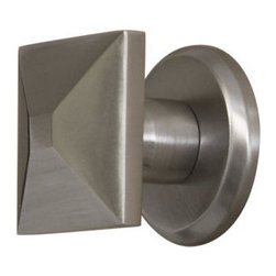 Solid Brass Square Knob with Round Base Plate - With its unexpected, square pyramid shape, this stylish knob is a great update for kitchen cabinetry or drawers.