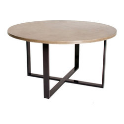 "Hart Concrete Design - X Round Dining Table in Mesa, 42"" - The X Round Dining Table is handmade to order in the United States by Hart Concrete Design.  With a 1"" polished concrete top and a 1"" X 1"" Steel Tube base powder coated in Black."