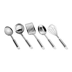 Range Kleen - Preferred 5-Pc Stainless Steel Tool Set - Includes ladle, whisk, solid spoon, slotted spoon and slotted spatula. Tools look great while whisking, flipping, scooping and stirring. Made from attractive, premium quality stainless steelWhen you get in the kitchen, you need the right tool for the task at hand. Weve got you covered with this essential basic cookware set. Each one is sure to get a lot of use, so their durable construction is made to last. Makes a great housewarming or going away to college gift!