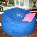 "Bean Bags for Boys - Ahh! Products blue jean denim cotton bean bag chair with embroidered Initials personalization. Remove and wash cover, water-repel liner. 37"" large size. 10 year warranty, Made in USA."