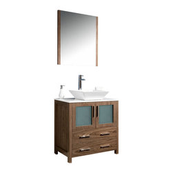 """Fresca - Fresca Torino Bathroom Vanity w/ Vessel Sink, Walnut, 30"""", Single Sink - Fresca is pleased to usher in a new age of customization with the introduction of its Torino line. The frosted glass panels of the doors balance out the sleek and modern lines of Torino, making it fit perfectly in either 'Town' or 'Country' décor. Available in the rich finishes of Espresso, Glossy White, Walnut and Light Oak, all of the vanities in the Torino line come with either a ceramic vessel bowl or the option of a sleek modern ceramic integrated sink. This version is with the vessel bowl(s)."""