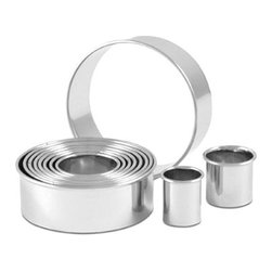"""CIA Bakeware 11 Piece Round Cutter Set - Experience a cut above the rest with the Masters Collection Round Cutter Set. It contains 11 graduated sizes from 7/8"""" to 3 5/8"""" so it covers all the cutting bases for cookies, rolls, puff pastry, biscuits and tea sandwiches. Made of professional-gauge 18/8 stainless steel, the cutters feature a sharp edge with a rounded top that protects your fingers. Comes in a durable plastic case with a locking top for easy and compact storage. Professional gauge 18/8 stainless steel 11 graduated sizes for a wide variety of uses Sharp edge for cutting with a rounded top edge to protect fingers Dishwasher-safe Durable plastic storage case provides easy and compact storage Lifetime warranty All product sales benefit The Culinary Institute of America Scholarship Fund Material: 18/8 stainless steel Size: 11 graduated sizes, 7/8"""" to 3 5/8"""" Cleaning: Dishwasher-safe Warranty: Lifetime"""