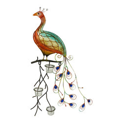 Zeckos - Colorful Glass Peacock Candle Holder Wall Hanging 30 in. - This colorful peacock will lend its display of color to any wall in your home, garden or office in a panorama of tranquil splendor with a colored glass body and bright sapphire blue faceted jewel accents on the tail feathers, this peacock sits perched on a branch with three 2 inch high, 1.75 inch diameter clear glass votive cups for tealight or votive candles to set it all aglow (candles not included) Use it with LED candles for worry free accent lighting anywhere in your home. It's a splendid specimen crafted from metal, and hand-painted in relaxing tropical hues that make this peacock pop. This 30 inch (76 cm) high, 18 inch (46 cm) wide, 3 inch (8 cm) deep peacock sculpture easily hangs by the attached hanger, and will warm up your garden oasis, on the patio or in an entryway, and is sure to be admired.