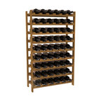 54 Bottle Stackable Wine Rack in Redwood with Oak Stain - Three times the capacity at a fraction of the price for the 18 Bottle Stackable. Wooden dowels enable easy expansion for the most novice of DIY hobbyists. Stack them as high as you like or use them on a counter. Just because we bundle them doesn't mean you have to as well!