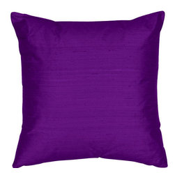 The Silk Group - Grape 18x18-Inch Silk Dupioni Square Poly Insert Decorative Pillow - - Handcrafted in the USA these decorative pillows are ideal for adding that special finishing touch to any space. Available in over 100 colors several of them can be combined for a grouping of complementary colors or contrasting shades. They feature 100% Grade A Silk Dupioni the finest highest quality most exquisite silk fabric on the market. A high quality knit backing is permanently bonded to the back of the fabrics used in our pillows. The knit backing adds body increased stability and longevity to the pillow. An invisible color-coordinated zipper is discretely placed on the bottom edge of the pillow so both faces of the pillow are able to be displayed. The pillow inserts we use are over-sized so our pillows will always have that desirable high soft and fluffy appearance. Our pillows are available without the insert too if you prefer to use your own. The fabric face has been treated with the most durable and permanent stain moisture and UV repellants available. This provides long lasting protection from water alcohol and oil-based stains as well as resistance from fading and discoloring over time.  - Fill Material: Down  - Dry Clean Only The Silk Group - SQ_Dup_Sol_Grape_18x18_Poly