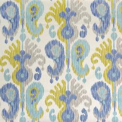 Teal Ikat Fabric - Fiber content: 55% Linen, 45% Rayon