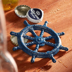 Ship's Wheel Iron Bottle Opener - Vacations and libations — whether you're on a getaway or not, this handheld nautical bottle opener is unique and fun. It's a nice accessory for those who want to keep the beach and the bar together.