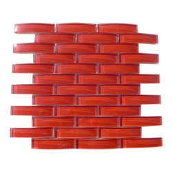 "GlassTileStore - Loft Crescent Cherry Red Glass Tiles - Loft Crescent Cherry Red Glass Tile             Whether using this stunning tile as a back splash, wall, or as an accent piece, the polished gray-green glass tile will bring a modern and contemporary ambiance to the room. Add a pop to any room with these beautiful tiles that are versatile.         Chip Size: 1""x4""   Color: Red   Material: Glass   Finish: Polished   Sold by the Sheet - each sheet measures 11 3/4"" x 11 3/4"" (0.96 sq. ft.)   Thickness: 15mm Please note each lot will vary from the next.            - Glass Tile -"
