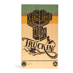 Keep on Truckin' - Digitally printed typographic design with modern pattern graphics will add colour to your wall. Produced from sustainably managed bamboo plantations by an FSC certified operator this board is as good for the environment as it is for you. Board comes with routed hanging system in rear which suits all hooks and nails. Dimensions 400mm x 230mm x 15mm.