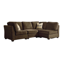 Homelegance - Homelegance Burke Modular Sectional Sofa with 2 Chairs in Brown - The clean design of the Burke Modular collection allows for placement in number of living room designs. The decidedly elegant, yet, understated collection is offered in brown beige chenille and features a coordinating ottoman and toss pillows. Also available in dark brown 100% polyester.