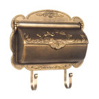 Hummingbird Horizontal Wall Mount Mailbox - This wall mount box is the essence of country charm with its sculpted edge and calming hummingbird scene.  Sturdy decorative newspaper scrolls hold your magazines, catalogs, and other media mail.