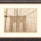 Amanti Art - Teo Tarras 'Golden Age IV' Framed Art Print 29 x 24-inch - Born in Barcelona in 1950, this Spanish photographer, illustrator, and designer brings his considerable talents to bear on one of New York City's landmarks: the Brooklyn Bridge. With an eye for the vintage look of yesteryear, Tarras depicts the Big Apple's famous bridge with a graceful and melancholic eye.