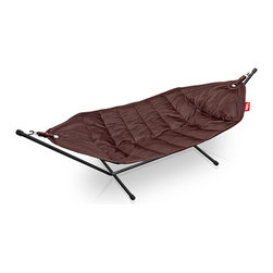 "Fatboy - Fatboy Headdemock w/ Stand Brown - The Fatboy Headdemock, created by Finnish designer Jukka Setl, invites you to get comfy and lounge around, cocktail in hand, on a lazy summer evening. Made from highly durable nylon with a special coating, the Headdemock is not only easy to clean but is also incredibly durable. The included metal tubing base means you can put your Headdemock anywhere you want to kick back and relax (no trees required - yes city dwellers, you too can have the luxury of a hammock!) Base is 110""L x 55""H"