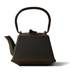 "Matte Black Cast Iron ""Kobe"" Teapot, 29 Oz. - Unity® Cast Iron ""Kobe"" Teapot – Matte Black finish.  An elegant, distinctly shaped  cast iron Tetsubin teapot named after the beautiful and ancient city of Kobe, Japan.  Inspired by highly prized antique Japanese cast iron teapots still in use today. Features a black porcelain enamel interior coating that helps prevent rust. For brewing and serving tea; Not intended for stovetop use. 29 oz. capacity"