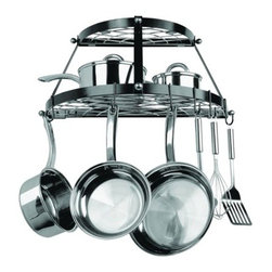 Double-Shelf Wall-Hanging Pot Rack, Black - This pot rack that can also act as shelving — love it!