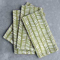 Ethnic Herringbone Napkins - An exotic take on traditional herringbone, printed in fresh aloe green.