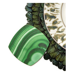 Malachite Coaster - Set of 6 - Semiprecious stone's organic appeal and elite, sophisticated, yet artful impression make popular additions to your home. Embrace the look in an unexpected, fresh way with these Malachite Coasters, sold in a set of six so you can provide your guests with a touch of artisan detail - its peacock-feather forms drawn from one of nature's most intriguing patterns.