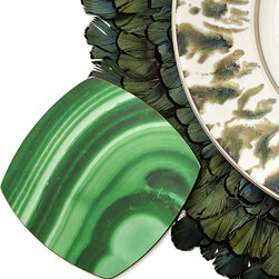 Malachite Coaster - Set of 6 - Semiprecious stone's organic appeal and elite, sophisticated, yet artful impression make popular additions to your home.  Embrace the look in an unexpected, fresh way with these Malachite Coasters, sold in a set of six so you can provide your guests with a touch of artisan detail � its peacock-feather forms drawn from one of nature's most intriguing patterns.