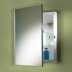 Broan-NuTone - Broan-Nutone Styleline 18W x 36H in. Surface Mount Medicine Cabinet M18369301 Mu - Shop for Bathroom Cabinets from Hayneedle.com! The Styleline series gives you that classic mirror-door cabinet with NuTone's quality and grace. When you can't have your cabinet's door swinging wide open the Perfect Square's 90-degree stop hinge is a perfect solution. The reversible hinges mean this model could open either way making it a great-looking glass medicine cabinet for right- or left-handers or right- or left-handed areas. The stainless steel frame is a stylish touch.About Broan-NuToneBroan-NuTone has been leading the industry since 1932 in producing innovative ventilation products and built-in convenience products all backed by superior customer service. Today they're headquartered in Hartford Wisconsin employing more than 3200 people in eight countries. They've become North America's largest producer of medicine cabinets ironing centers door chimes and they're the industry leader for range hoods bath and ventilation fans and heater/fan/light combination units. They are proud that more than 80 percent of their products sold in the United States are designed and manufactured in the U.S. with U.S. and imported parts. Broan-NuTone is dedicated to providing revolutionary products to improve the indoor environment of your home in ways that also help preserve the outdoor environment.