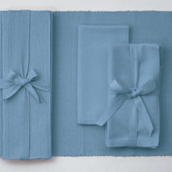 "Origin Crafts - Lt. aqua napkins set of 4 (three sets left) - Lt. Aqua Napkins Set of 4 Napkins and Placemats sold separately. Sets of four tied together w/matching twill tape. 100% cotton. machine wash cold water; tumble dry low. Dimensions: Napkins - 20"" x 20"" By Tag Ltd. - Tag Ltd. is a supplier of decorative accessories. Ships within Three Business Days."
