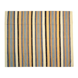 Striped Area Rug, 8'X10' Flat Weave Hand Woven Qashqai Kilim Rug SH13403 - Soumaks & Kilims are prominent Flat Woven Rugs.  Flat Woven Rugs are made by weaving wool onto a foundation of cotton warps on the loom.  The unique trait about these thin rugs is that they're reversible.  Pillows and Blankets can be made from Soumas & Kilims.