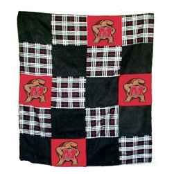 Traditions Art Glass Studios - University of Maryland Quilt - -Large 50 x 60 Ultra suede patchwork quilt with chenille school logos  -Great for tailgating, keeping warm at games, or watching games on TV  -Machine washable. Traditions Art Glass Studios - MARY805