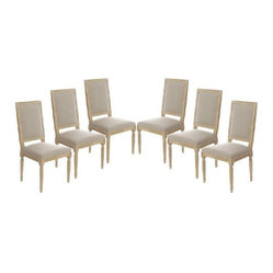 Vintage French Square Upholstered Side Chair Dining Chair, Set of 6