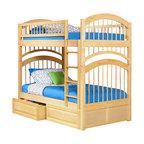 Atlantic Furniture - Atlantic Furniture Windsor Bunk Bed Twin Over Twin in Natural Maple - Atlantic Furniture - Bunk Beds - AB57105