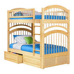 Atlantic Furniture - Atlantic Furniture Windsor Bunk Bed Twin Over Twin in Natural Maple - Atlantic Furniture - Bunk Beds - AB57105