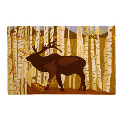 Homefires - Birch & Elk Rug - Large, majestic and quintessentially North American, elk are wonderful to see in nature. Enjoy the forest dwelling, antler clad beast beneath your feet with this Lynnea Washburn-designed rug. Set amidst a grove of birch trees, you'll love the outdoor feel in your home.