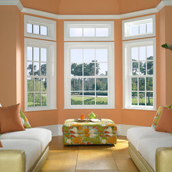 "Replacement Double Hung Windows - Replacement Double Hung Windows with transoms and 5/8"" contoured grid."