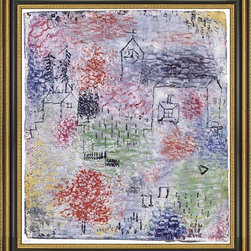 """Art MegaMart - Paul Klee Small Landscape Village Church - 16"""" x 20"""" Paul Klee Small Landscape with the Village Church framed premium canvas print reproduced to meet museum quality standards. Our Museum quality canvas prints are produced using high-precision print technology for a more accurate reproduction printed on high quality canvas with fade-resistant, archival inks. Our progressive business model allows us to offer works of art to you at the best wholesale pricing, significantly less than art gallery prices, affordable to all. This artwork is hand stretched onto wooden stretcher bars, then mounted into our 3 3/4"""" wide gold finish frame with black panel by one of our expert framers. Our framed canvas print comes with hardware, ready to hang on your wall.  We present a comprehensive collection of exceptional canvas art reproductions by Paul Klee."""
