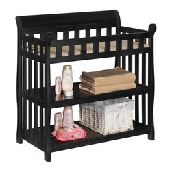 None - Delta Black Wooden Changing Table - The black changing table from Delta features a gorgeous semi-gloss finish keeps the room looking luxurious. This black changing table for babies features ample changing space with side rails to keep your baby safe.