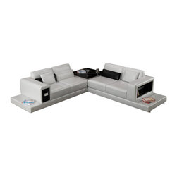Scene Furniture - A2 Leather Sectional - Scene Furniture's A2 leather sectional is a modern design loaded with useful features such as a side storage cabinet, side book shelf and a large corner table.