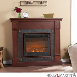 """Holly and Martin Tavola Electric Fireplace-Cherry, 37-235-023-6-05 - Holly & Martin Tavola Electric Fireplace-CherryProduct Features This handsome cherry fireplace is ideal for enhancing your home's cozy appeal. With such a commanding presence this fireplace is sure to grab the attention of everyone who enters your home. The mantel has faux slate tiles framing the firebox and is made complete by corner embossed metal tiles to give a unique flair to this piece. Portability and ease of assembly are just two of the reasons why our fireplace mantels are perfect for your home. Requiring no electrician or contractor for installation allows instant remodeling without the usual mess or expense. In addition to your living room or bedroom, try moving this fireplace to your dining room for romantic dinners or complement your media room with a ventless fireplace below your flat screen television. Use this great functional fireplace to make your home a more welcoming environment. - 45"""" W x 13.5"""" D x 40.25"""" H  - Cherry finish  - Gray faux slate around firebox with bronze metal tiles in corners  - Beautiful media room accent  - Mantel supports up to 85 lbs  - Accommodates up to a 42"""" flat screen TV  - Constructed of poplar wood, MDF and PB with basswood veneer, polyresin and embossed metal tiles  - Assembly required   - Firebox front - 23"""" Wide x 20"""" Tall  - Remote control (2 AAA Batteries Required)  - Realistic flickering flame effect  - Long life LED lights  - 120V-60Hz, 1500W / 5000 BTUs, 12.5 Amp  - Easy to use adjustable thermostat  - Safety thermal overload protector  - Adjustable flame brightness control  - Plugs into standard wall outlet with 6' cord  - Tested to heat 1500 cubic feet in only 24 minutes (14'x14'x8')  - Uses about the same energy as a coffee maker  - 100% energy efficient with low operating costs  - Produces zero emissions or pollutants  - Eco friendly, consuming no wood or fossil fuels  - No combustion, glass remains cool to the touch"""