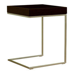 Baxton Studio - Baxton Studio Black Wood Top C Table - stylish, unique end table that is sure to complete any home decor. End table features durable oak wood construction with steel frame.  Its perfect combination of quality craftsmanship and simple, sophisticated designs will instantly enhance your living space.  Overall measures 17 inches wide x 17 inches deep x 18 inches high