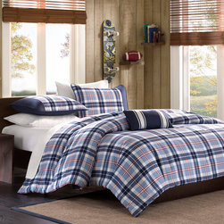 Mizone - Mizone Elliot Comforter Set - The Elliot comforter set is perfect for any young man's room. Its mix of light blue and dark blue plaid with a hint of red stripes gives a little splash of color without overpowering the plaid pattern. The pillowcases have a solid dark blue on the back and a solkid dark blue stripe on the front to tie it all together. Comforter/Sham: 100% polyester peach skin, printed, 100% brushed polyester reverse, 200g polyester filling Pillow: polyester cover and polyester fill