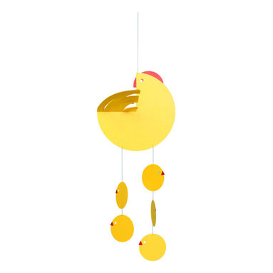 Flensted Mobiles - Chicken-Hen Mobile - What could be sweeter than a mama hen and her brood of charming chicks floating about the crib? You'll love seeing this bright yellow mobile and so will baby.