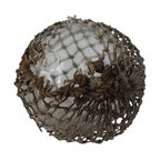 Glass Fishing Float - An cool old ocean float with salvage netting, thick bubbled and ribbed glass. Shows desirable signs of a timw worn and weathered piece!