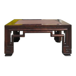 Golden Lotus - Chinese Brown Rattan Srcoll Carving Legs Coffee Table - This is a simple rectangular coffee table with light brown rattan center. The legs and apron is decorated with oriental Ru Yi scroll pattern.