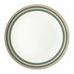 Iittala - Origo Dinner Plate, Brown - Give your meal a festive flair with these striped ceramic dinner plates. The preppy colors are a cheerful departure from plain white dinnerware and will surely enhance your table. And when the meal is done, simply place these in the dishwasher for easy cleanup.
