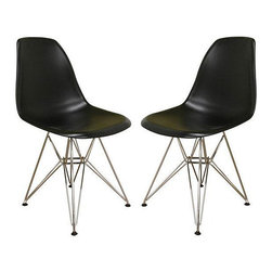 Baxton Studio - Ronnie Wire Base Black Chairs (Set of 2) - Provide customers and guests a comfortable place to relax with this set of two black durable chairs from Baxton Studio. Each chair features a hard plastic seat supported by a sturdy steel frame,making this a long-lasting addition to a home or office.
