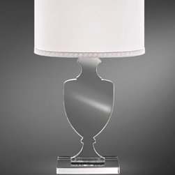 """8010 Table Lamp - The 8010 Table Lamp has been designed and made in Italy by the manufacturer Italamp. 8010 light is a contemporary lamp made of crystal, metal and fabric. This modern table lamp is an impresive presence in any kind of room, bringing a touch of nowelty to the environment where it is placed. Available in two dimensions, 8010 lamp consists of a metal structure which sustains its transparent crystal body with ivory shaded fabric lampshade and chrome finishes. The light fixture has a diffused light and when is turned on the lamp diffuses a parade of light with bright personality. Illumination is provided by E12/E26, 40W/100W Halogen, or 8W/20W Energy Saving, or 4W/10W LED bulb (not included).     .proddesc p{font-family: Verdana, sans-serif; font-size:8pt!important;}   .pdtable{font-family: Verdana, sans-serif; font-size:8pt!important;padding:10px;} Product Details: The 8010 Table Lamp has been  designed  and made in Italy by the manufacturer Italamp. 8010  light is a contemporary   lamp made  of  crystal, metal and fabric. This modern table lamp is an impresive presence in any kind of room, bringing a touch of nowelty to the environment where it is placed. Available in two dimensions, 8010 lamp consists of a metal structure which sustains its transparent crystal body with ivory shaded fabric lampshade and chrome finishes. The light fixture has a diffused light   and when is turned on the lamp diffuses a parade of light with bright personality.  Illumination is provided by E12/E26, 40W/100W Halogen, or 8W/20W Energy Saving, or 4W/10W LED bulb (not included). Details:                         Manufacturer:            Italamp                            Designer:            Italamp                            Made in:            Italy                            Dimensions:                        Small: 8010/LP: Diameter: 10.3""""(25.9cm) X Height: 16.6""""(42.2cm) X Depth: 6.7""""(17cm)             Large: 8010/LG: Diameter: 14.2""""(36.1cm) X Height: 23.7""""(60.2cm) X Dept"""
